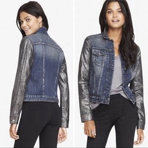 express • jean jacket with metallic sleeves